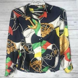 Ralph Lauren long sleeve nautical silk blouse 16